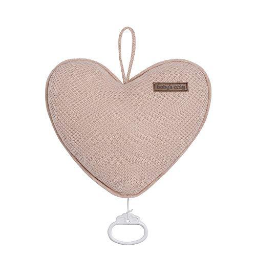 BO Baby's Only - Herzförmige Spieluhr fur Babyzimmer - Twinkle, Twinkle Little Star - 25x22 cm - für Mädchen - Blush