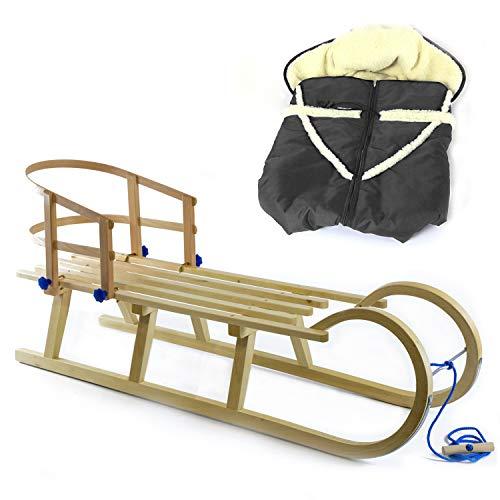 Holzfee Baby-Schlitten Hörnerschlitten 120 cm mit Lehne + Leine + Fußsack (Qualität) Farbauswahl (Grafit)