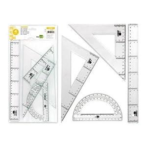 Liderpapel JG02 – Juego escuadra y cartabón, regla y semicírculo, 25 cm, 30 cm, 15 cm , color/modelo surtido