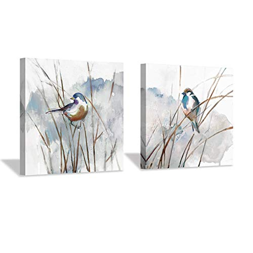 """Abstract Picture Bird Wall Art: Animal Birds on Reed Watercolor Artwork Prints on Canvas for Bedroom ( 12"""" x 12"""" x 2 Panels )"""
