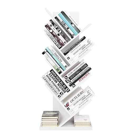 Libreria ad Albero Scaffale Divisorio Scaffale in legno Porta CD Scaffale DVD per soggiorno Camera da letto Ufficio Corridoio 48 x 26 x 116 cm (Bianco)
