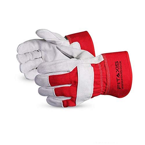 2 pares de guantes de trabajo de cuero de vaca, FTX501 | Construcción de almacén yardas | Puño de seguridad resistente (tamaño único) (10 pulgadas, rojo y blanco)