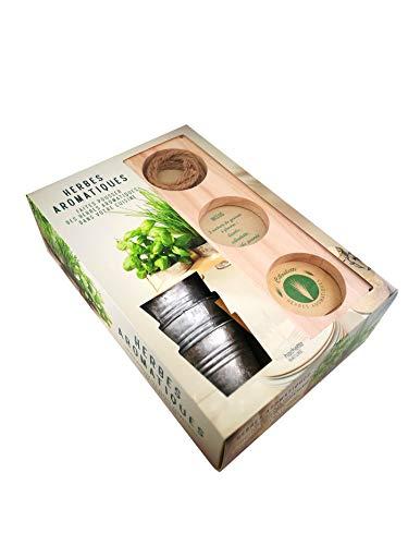 Herbes aromatiques - Faites pousser des herbes aromatiques dans votre cuisine: Coffret avec 1 suspension en bois et 2 cordelettes pour l'accrocher au ... pots en fer et 3 sachets de graines à planter
