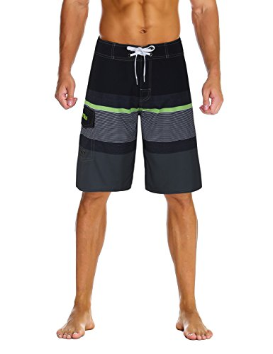 Nonwe Men's Sportwear Quick Dry Swim Trunks with Lining Black&Gray 36