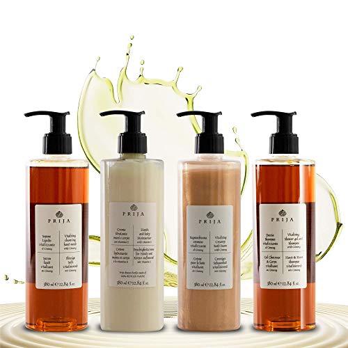Prija XL Set 4x 380 ml Flüssigseife, Haut & Haarshampoo, Bodylotion, Creme Bad