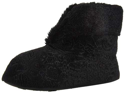 Dearfoams Women's Embossed Velour Bootie Slipper, Black, M Regular US