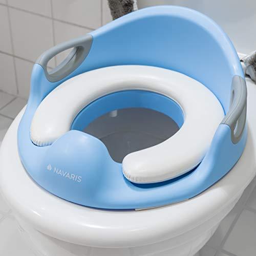 Navaris Kinder Toilettensitz WC Aufsatz - 12 Monate bis 7 Jahre - Baby Sitz Anti-Rutsch Polster Kloaufsatz - Griff und Spritzschutz - Toilettentrainer