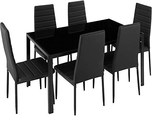 Mesa de comedor y 6 sillas 130 x 70 x 75 cm 6 Conjuntos de muebles de restaurante Resistente Safety Glass Desktop,Black