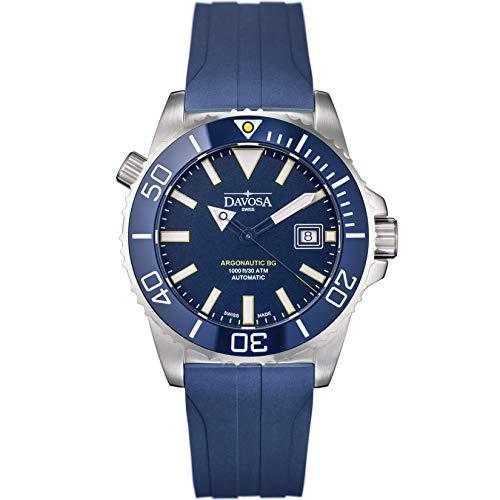 Davosa Schweizer Automatik Taucheruhr – Luxus Analog Argonautische Wasserdicht Sport Armbanduhr für Herren mit stilvollem Armband Silber, Blau, Gummi