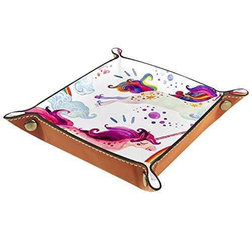 Bandeja de Cuero - Organizador - Mundo de dibujos animados magnífico corriendo - Práctica Caja de Almacenamiento para Carteras,Relojes,llaves,Monedas,Teléfonos Celulares y Equipos de Oficina