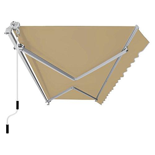 SONGMICS Gelenkarmmarkise 295 cm, Markise mit Kurbel, Sonnenschutz, Anti-UV und wasserfest, beige, 295 x 250 cm, GRA30BE