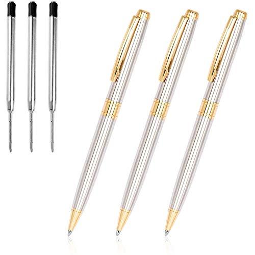 Ballpoint Pens, Cambond Metal Black Ink Stainless Steel Retractable Ballpoint Pen Gift for Men Women Ballpoint Pens Bulk Office Pen Pack (1.0mm) Medium Point 3 Pens with 3 Refills (Gold)