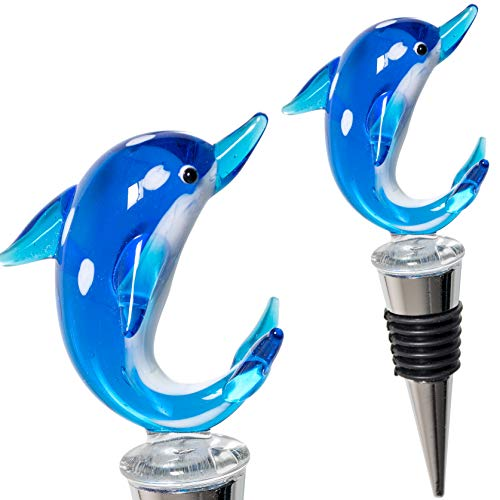 Glass Dolphin Wine Stopper