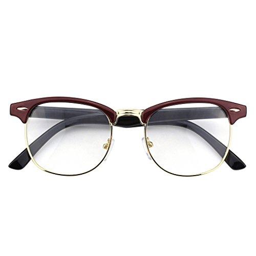 CGID 50er Jahre Retro Nerd Brille Halbrahmen Hornbrille Stil Rockabilly Streberbrille,Rot Schwarz