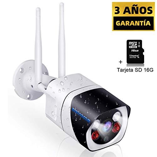 SZSINOCAM Cámara Vigilancia Exterior WiFi,1080P Camaras de Vigilancia con Visión Nocturna,Cámaras IP CCTV Impermeable IP66, Detección de Movimiento,Audio Bidireccional,Android/IOS/PC