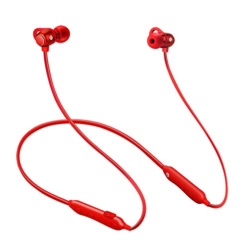 YX Cuello De Montaje Inalámbrico Deportes Bluetooth Auriculares Colgantes Earplugados Colgando Cuello Estéreo Binaural(Color:Rojo)
