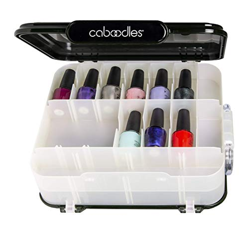 Caboodles Ultimate nail care case, nail polish and accessories storage, White Iridescent Base With Clarified Charcoal Color Lids