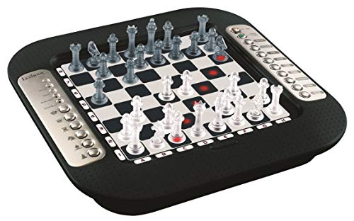 Lexibook CG1335 Chessman FX, Elektronisches Schachspiel mit Berührungstastatur und Licht-und Soundeffekte, 32 Stück, 64 Schwierigkeitsgrade, Familienbrettspiel, Schwarz/Silber