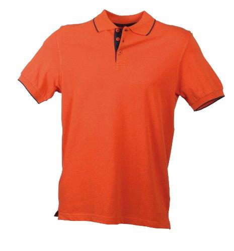 James & Nicholson Herren Poloshirt Polo Campus orange (terra/navy) Large