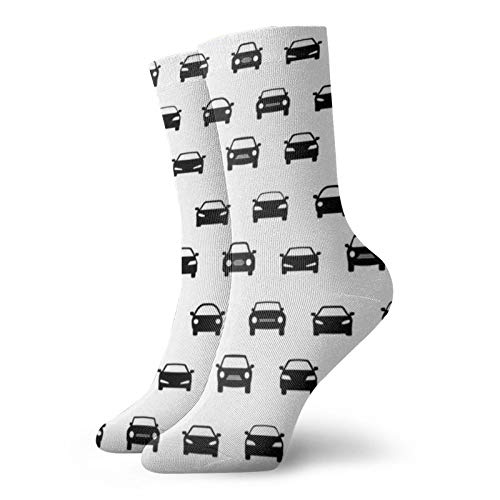 Los iconos de coche en blanco y negro de ocio deporte calcetines cortos 30 cm/11.8 pulgadas adecuado para hombres y mujeres calcetines de regalo