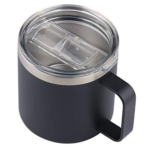Sivaphe Becher Edelstahl Schwarz, Mug 400ML, Weithalsschale Kaffeebecher Tassen Doppelwandig mit Griff und Deckel für Camping Becher