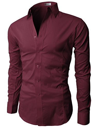 H2H Mens Wrinkle Resistant Slim Fit Dress Long Sleeve Shirts WINE US XL/Asia 3XL (JASK14)