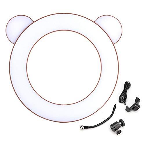 Shipenophy Mano de Obra estándar Luz de Relleno en Vivo Lámpara de Relleno fácil de Instalar con Soporte de Clip para teléfono Estudio de Maquillaje Selfie Anillo de luz(Brown Bear)