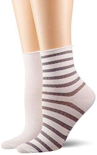 ESPRIT Damen Socken Luminous Stripe 2er Pack - Baumwollmischung, 2 Paare, Weiß (White 2000), Größe: 35-38