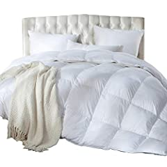 Luxury down comforter provides medium warmth for year-round comfort. This comforter will bring you joy and warmth through all the seasons. Goose Down comforter is RDS Certified and filled with ethically sourced, hypoallergenic down filling with 60 oz...