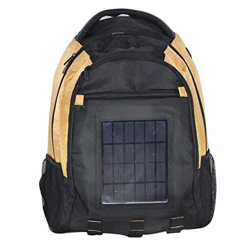 WishY 5W Solarpanel Solar Rucksack, Solar Ladegerät Laptop Rucksack Solarrucksack für Camping, Wandern, Reise, iPhone, iPad, Huawei, Outdoor,Yellow