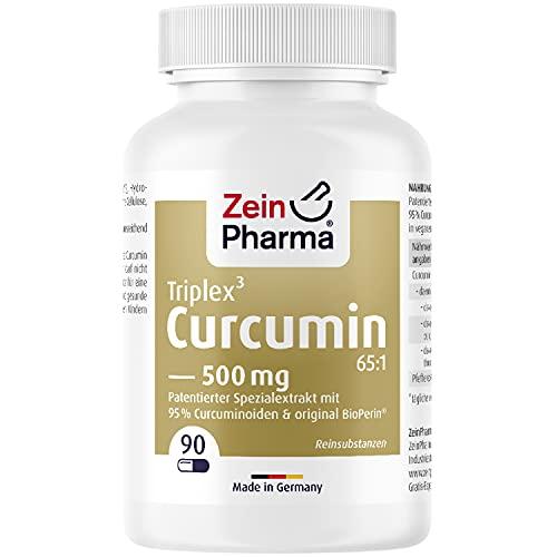 ZeinPharma Curcumin-Triplex³ Kapseln 90 Kapseln 500mg - Curcuma Piperin Kapseln hochdosiert mit 95% Extrakt, Nahrungsergänzungsmittel vegan, laborgeprüft - Made in Germany