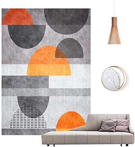 Modern Home Tapijt Chic Oranje Geometrische Halfcirkel Patroon voor Woonkamer Slaapkamer Bank Garderobe Stoel Mat Kinderkamer Zacht Antislip Grijs Tapijt-40 * 60CM