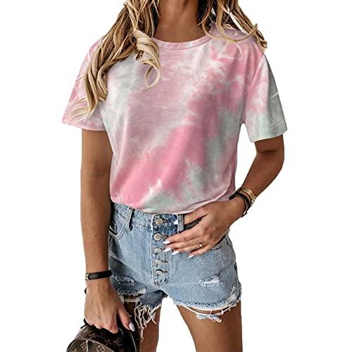 RWXXDSN Dames losse ronde hals korte mouwen casual bedrukt stropdas dye T-shirt top vrouwen - roze - 5XL