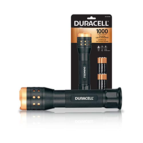 DURACELL 1,000 Lumen Aluminum Focusing Flashlight for Everyday Use - Ultra-Light and Easy to Carry Design with 3 Modes and 6-AA Batteries Included. Great for In-Door & Out-Door Use