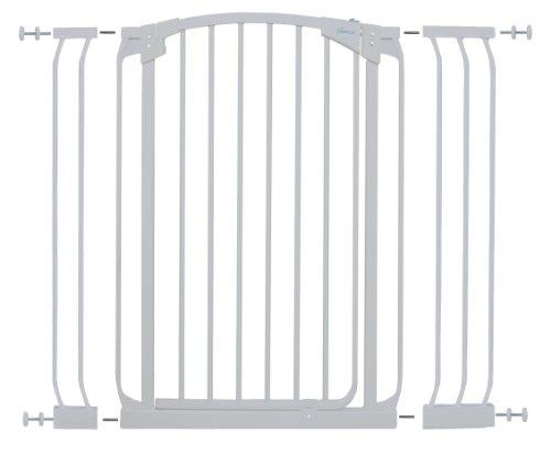 Dreambaby G2183(BB) Chelsea extra hohes Treppenschutzgitter / Türschutzgitter-Set selbstschließend - 1 Gitter + 2 Verlängerungen (71-107cm) weiß