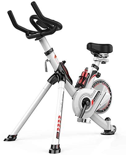 Indoor Cycling Exercise Bike Cardio Workout Manillar ajustable & Sensores de frecuencia cardíaca asiento & LCD Monitor Lee la distancia de velocidad, tiempo de distancia de calorías, color blanco