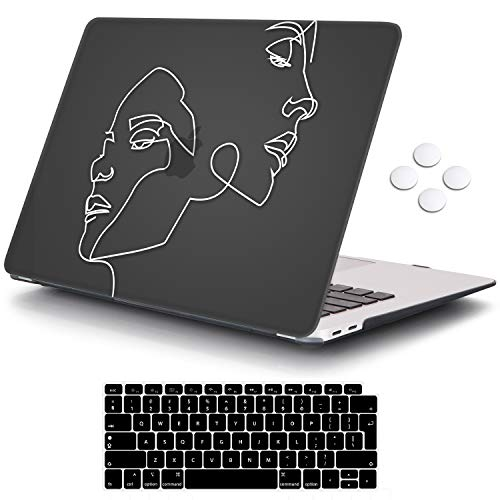 MacBook Air 13 inch Case 2020 2019 2018 Release A2337 M1 A2179 A1932, iCasso Plastic Hard Shell Case Cover and Keyboard Cover Only Compatible MacBook Air 13'' with Touch ID Retina Display - Face