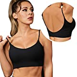 VETIOR Sport Bra for Women Padded Spaghetti U-Back Low Impact Yoga Workout Black M