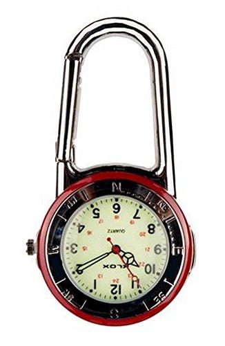 Glänzender silberner Klipp auf Karabiner-Roter u. Silber Anzeigetafel-leuchtendes Gesicht FOB Uhr für Doktoren Nurses Sanitäter Chefs