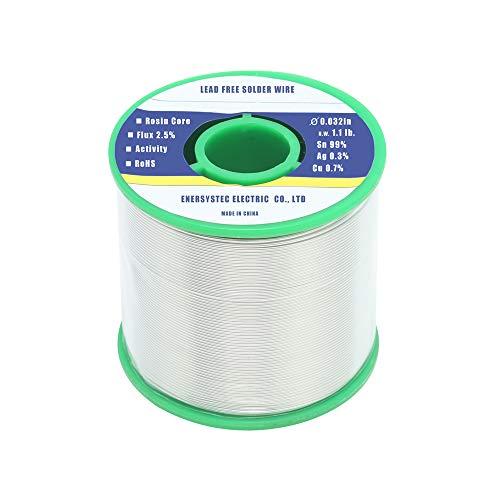 Lead Free Solder Wire Rosin Core Flux 2.5% Flow 0.032in(0.8mm) 1.1lb.(500g) Sn99 Ag0.3 Cu0.7 for...