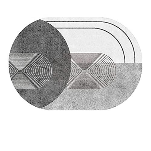 Alfombra Suave Antideslizante Sin Pelo Ovalada De Estilo Nórdico, Almohadilla De Mesa De Centro para Sala De Estar, Alfombra Familiar Moderna Y Sencilla 80x120cm B