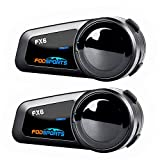Motorcycle Bluetooth Headset Fodsports FX6 1000m 6 Riders Group Motorbike Intercom Universal Bluetooth Motorcycle Helmet Communication System FM/Hard & Soft Mic/Voice Dial/Usable While Charge