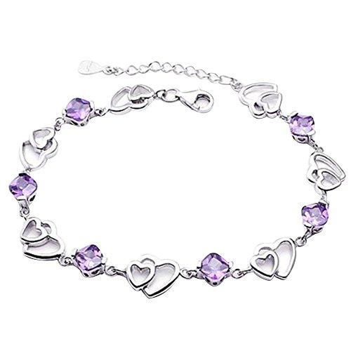 Contever Armbänder Silber mit Zirkonia 925Silber glänzend für Frauen Mädchen Stil der Liebe purpur