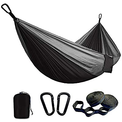SUNNY GUARD Camping Hammock Double & Single Hammocks with 2 Tree Straps ? Steel Carabiners?Indoor Outdoor Hiking Backpacking Survival?Portable