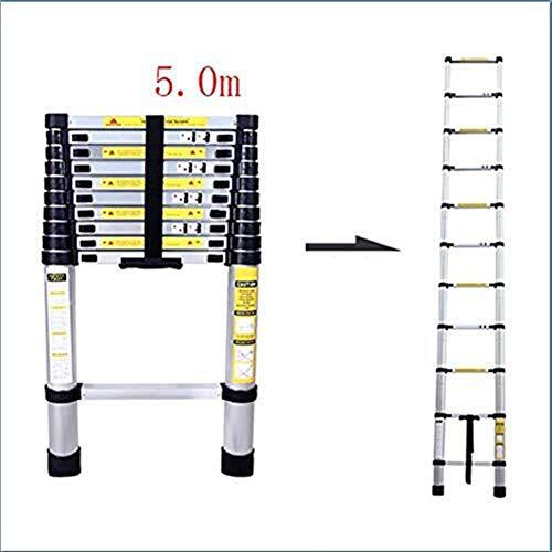 CKQ-KQ Ladder, aluminium telescopische ladder, in hoogte verstelbaar Telescopische vouwladder, Laadvermogen 150kg (Color : 5.0m)