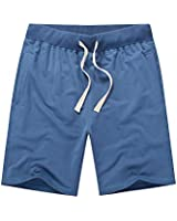CZZSTANCE Mens Shorts Casual Cotton Workout Drawstring Summer Beach Shorts with Elastic Waist and Pockets Blue