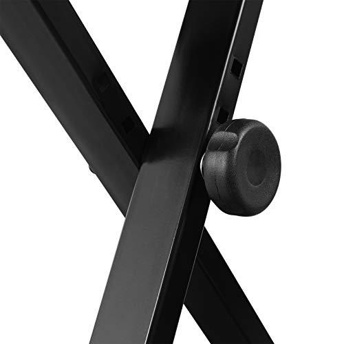SONGMICS Adjustable Keyboard Bench, X-Style Padded Metal Piano Bench, Black