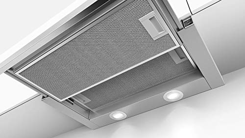 Bosch DFM064W50 Serie 2 Flachschirmhaube / C / 60 cm / Silbermetallic / wahlweise Umluft- oder Abluftbetrieb / Wippenschalter / Intensivstufe / Metallfettfilter (spülmaschinengeeignet)