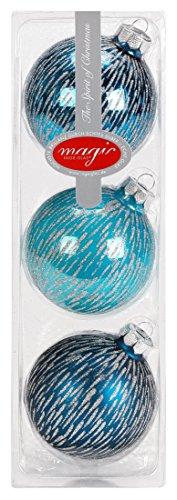 Lot de 3 boules de Noël - Turquoise glamour - 8 cm - Moderne - Argent - Paillettes - Décoration de Noël - Menthe