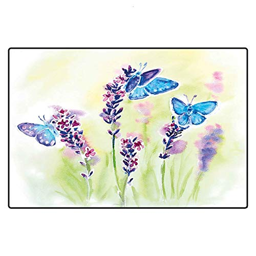 Lavender Outdoor Rugs 2x3 Ft, Summer Field Natural Wildlife Themed Watercolor Artwork with Butterflies Chair Mats, Blue Purple Green